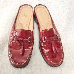 NWOB Naturalizer red leather wedge mules size 8